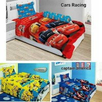 Bed Cover Set Single Lady Rose Cars Racing Captain America Minions