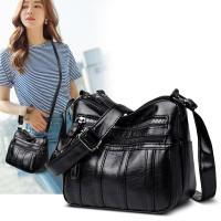 tas wanita vintage kulit IMPORT - hitam polos
