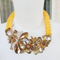 Kalung Pesta Mewah Kalung Statement Swarovski Crystal - Yellow GM003