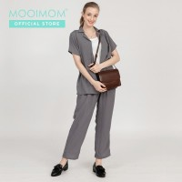 MOOIMOM Casual Long Maternity Pants Grey - Celana Hamil