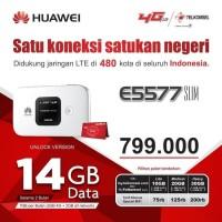 Mifi Modem Wifi Router 4G Huawei E5577 Telkomsel Unlock Free 14Gb - Putih