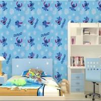 Wallpaper Sticker Dinding Motif Stitch Biru Putih Ukuran 45cm x 10m