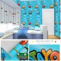 Wallpaper Sticker Dinding Motif Tayo Dasar Biru Ukuran 45cm x 10m
