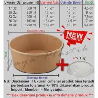 BIODEGRABLE KRAFT PAPER MICROWAVE SOUP BOWL + LID 25OZ - 750ML