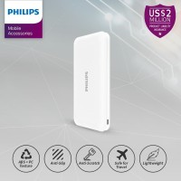 PHILIPS DLP 6812N PowerBank 10,000mAh Li-Polymer 2.1A, Type C - White