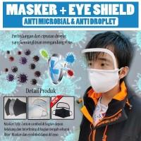 Masker kain 3 ply + Eyeshield / Faceshield - Hitam