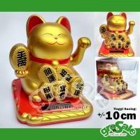 Kucing Hoki 9A Gold Maneki Neko Solar Lucky Cute Cat Dekorasi Pajangan