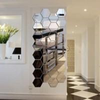 12Pcs 3D Hexagon Acrylic / Sticker Dinding Cermin Dekorasi Kamar