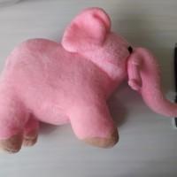 boneka gajah kecil pink