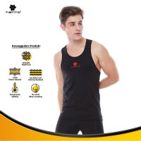 Tiento Tanktop Singlet Black Red Baselayer Tank Top Olahraga Original