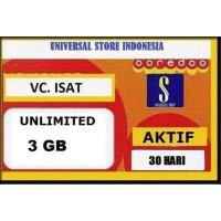 VOUCHER PAKET DATA INDOSAT 3 GB +UNLIMITED APPS (INTERNET ISAT 3GB APP