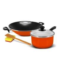 KUKINA (SB) Wajan Ceria Enamel 35cm & Saucepan 18cm - Orange