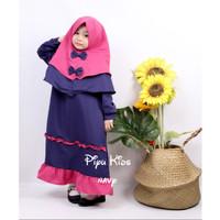 PIYU KIDS / GAMIS Muslim Anak Set + JILBAB FIT USIA 4-5 TAHUN - 4-5 Tahun, Navy