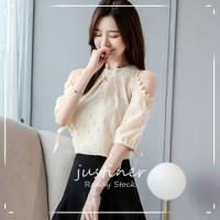 Korean Style Tops Fashion Blouse Streetwear Cold Shoulder Half Sleeve
