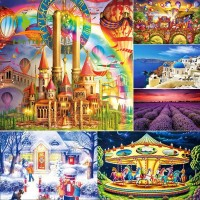 Lontime 100Pcs / Set Mainan Puzzle Jigsaw Kayu Gambar Pemandangan