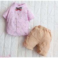 Setelan Baju Celana Bayi oowok Import 6 Bln - 4 Thn Kotak Putih
