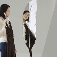 Bulu Yang Modern Cermin Akrilik Stiker Dinding Diy Dekorasi Interior