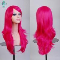 Wig / Rambut Palsu Panjang 70cm Warna Peach untuk Cosplay