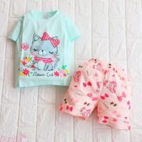 Setelan Baju Celana Bayi Perempuan Cewek 1-3 Tahun Import Flower Cat