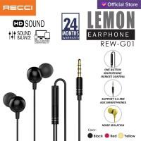RECCI Earphone HD Sound Multi Device LEMON REW-G01/Kuning/Merah/Hitam - Kuning