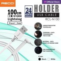 RECCI USB Cable 100CM HOLDER 2.4A PET RCL-N100/ Iphone / Hitam / Putih - Hitam