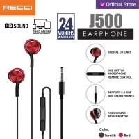 Recci Earphone/Headset J500 / Tarnish/Merah - Abu-abu