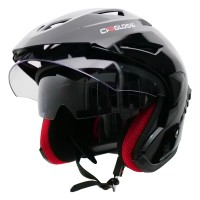 Helm Cargloss CDV CR Helm Half Face Double Visor - Deep Black