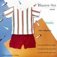 Blaster Set Setelan Celana Kaos Anak Cowok Motif Salur 1 s/d 4 tahun