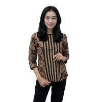 Batik Wanita Blouse Atasan Batik motif Kawung Sogan Salur SIZE JUMBO