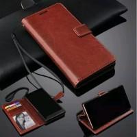 Leather Flip Cover Vivo Y30 Y50 - Wallet Case Casing Sarung Kulit