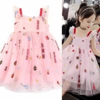 Dress tutu pink bordir pesta import anak tanpa lengan 4-10th - 160