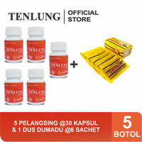 Paket Hemat Tenlung Pelangsing 5 Botol Gratis 1 Box Madu