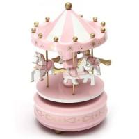 Kotak Musik Merry Go Round Musical Box Carousel - Pink