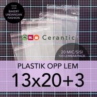 OPP LEM 13 x 20 +3 cm Plastik Bening Seal Bungkus Roti Undangan Baju