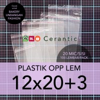 OPP LEM 12 x 20 +3 cm Plastik Bening Seal Bungkus Roti Undangan Baju