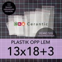 OPP LEM 13 x 18 +3 cm Plastik Bening Seal Bungkus Roti Undangan Baju