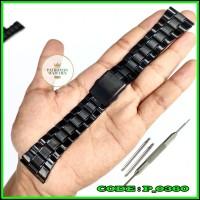 Strap Tali Jam Tangan Rantai Hitam Stainles Steel 20mm 22mm 24mm Murah