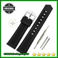 20mm 22mm Tali Jam Tangan - Black Silicone Rubber Diver Strap TR-1002H