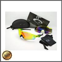 Kacamata Oakley Radar Ev hijau hitam 5 lensa - kacamata sepeda disko