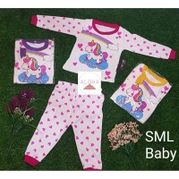 Baju Tidur Bayi Perempuan Lengan Panjang Usia 0-8 Bulan Motif Unicorn