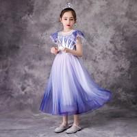 Purple White Dress Kostum Anak Frozen 2 Princess Elsa Ruffle Shoulder
