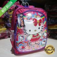Tas Ransel Anak Motif Timbul Emboss Hello Kitty Pink Karakter PAUD/TK/