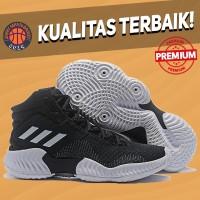 Sepatu Basket Sneakers Adidas Pro Bounce 2018 Black White Pria Wanita