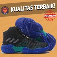 Sepatu Basket Sneakers Adidas Pro Bounce 2018 Core Black Blue Hitam