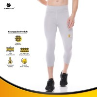 Tiento Legging Sport Leging Olahraga Pria 3/4 Pants Men Grey Original