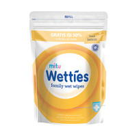 Mitu Wetties Family Wet Wipes Fresh Lemon Refill (90 Lembar)