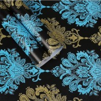 Home Wallpaper Sticker Dinding Batik Biru - 45cm x 10 m