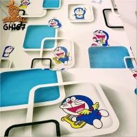 Home Wallpaper Sticker Dinding Doraemon 3D Kotak - 45cm x 10 m