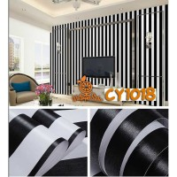Home Wallpaper Sticker Dinding Salur Hitam - 45cm x 10 m
