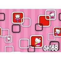 Home Wallpaper Sticker Dinding Hello Kittyy 3D Kotak - 45cm x 10 m